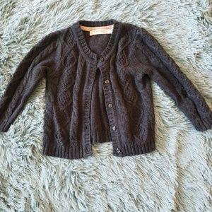 Girls Gray Cableknit Cardigan Sweater